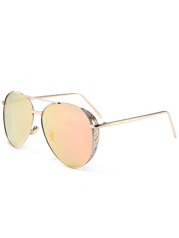 Affordable Vintage Metal Frame Carved Pilot Sunglasses