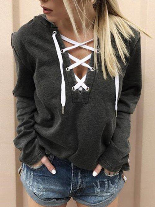 Long Sleeve Front Lace Up HoodieWOMEN<br><br>Size: L; Color: DARK GRAY; Material: Cotton,Polyester; Shirt Length: Regular; Sleeve Length: Full; Style: Casual; Pattern Style: Others; Season: Fall,Spring; Weight: 0.3000kg; Package Contents: 1 x Hoodie;