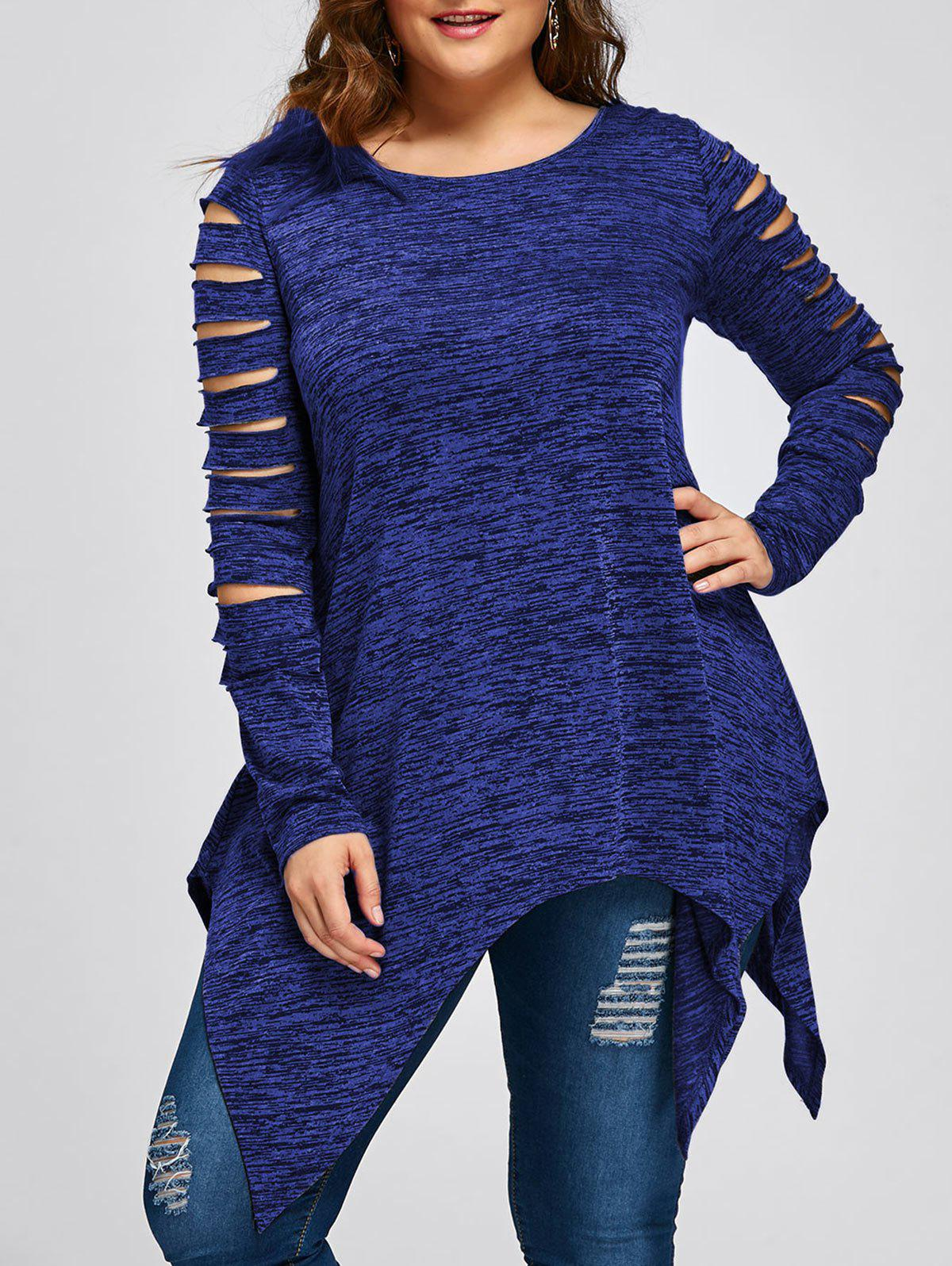 Plus Size Ripped Sleeve Marled Handkerchief TopWOMEN<br><br>Size: 2XL; Color: BLUE; Material: Polyester,Rayon; Shirt Length: Long; Sleeve Length: Full; Collar: Round Neck; Style: Casual; Season: Fall,Spring; Pattern Type: Others; Weight: 0.2700kg; Package Contents: 1 x Top;