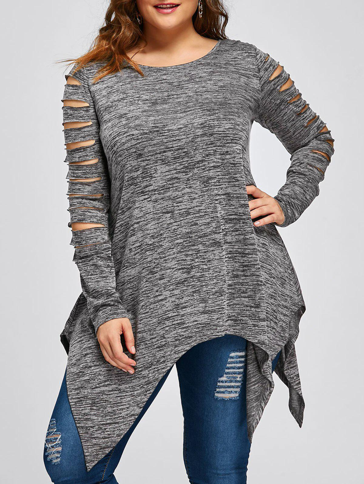 Plus Size Ripped Sleeve Marled Handkerchief TopWOMEN<br><br>Size: 2XL; Color: HEATHER GRAY; Material: Polyester,Rayon; Shirt Length: Long; Sleeve Length: Full; Collar: Round Neck; Style: Casual; Season: Fall,Spring; Pattern Type: Others; Weight: 0.2700kg; Package Contents: 1 x Top;