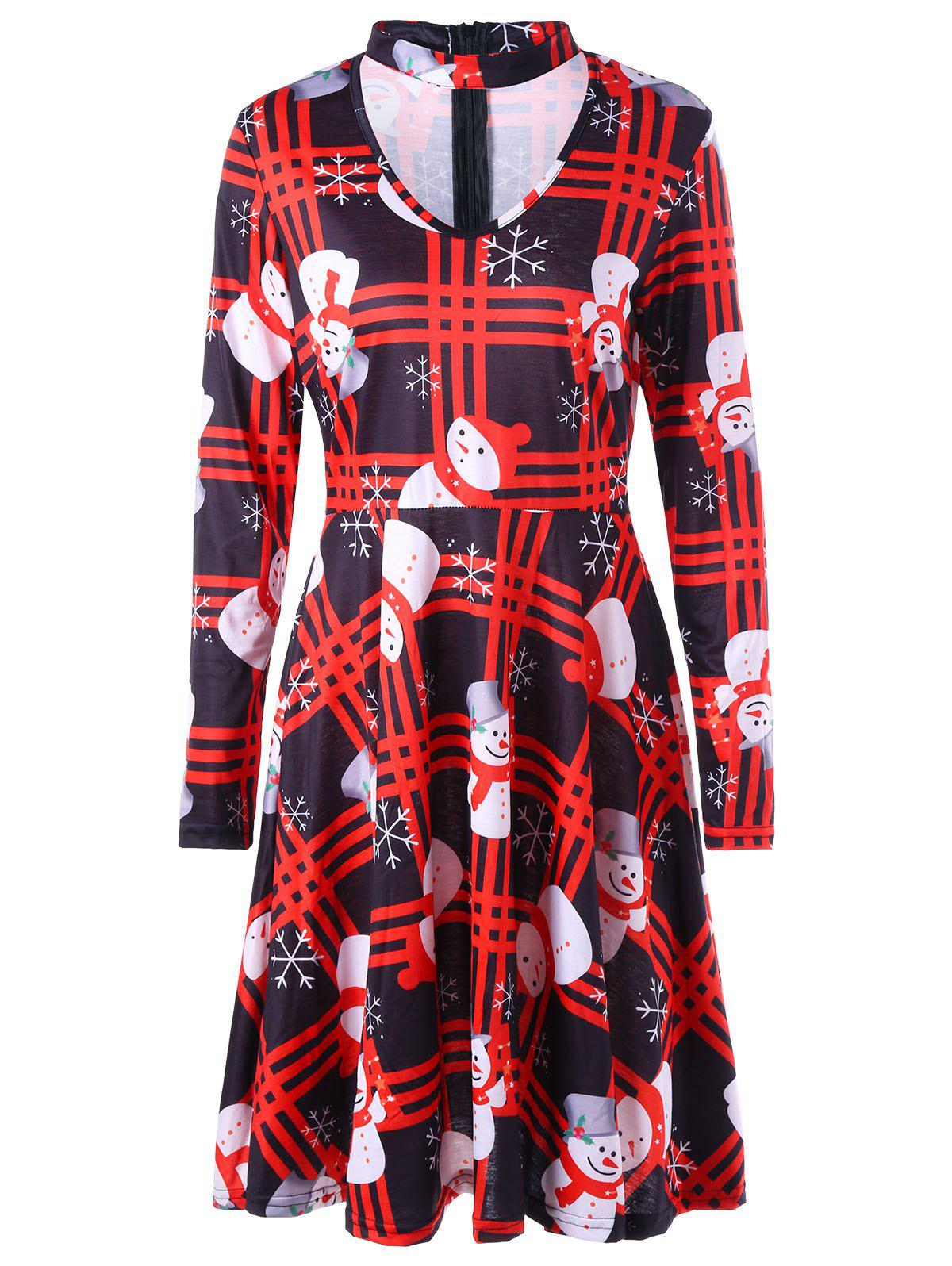 Outfit Christmas Snowman Snowflake Plaid Dress