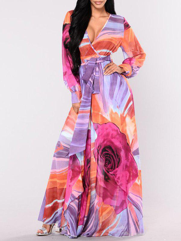 Outfits Plunge Surplice Floor Length Print Dress