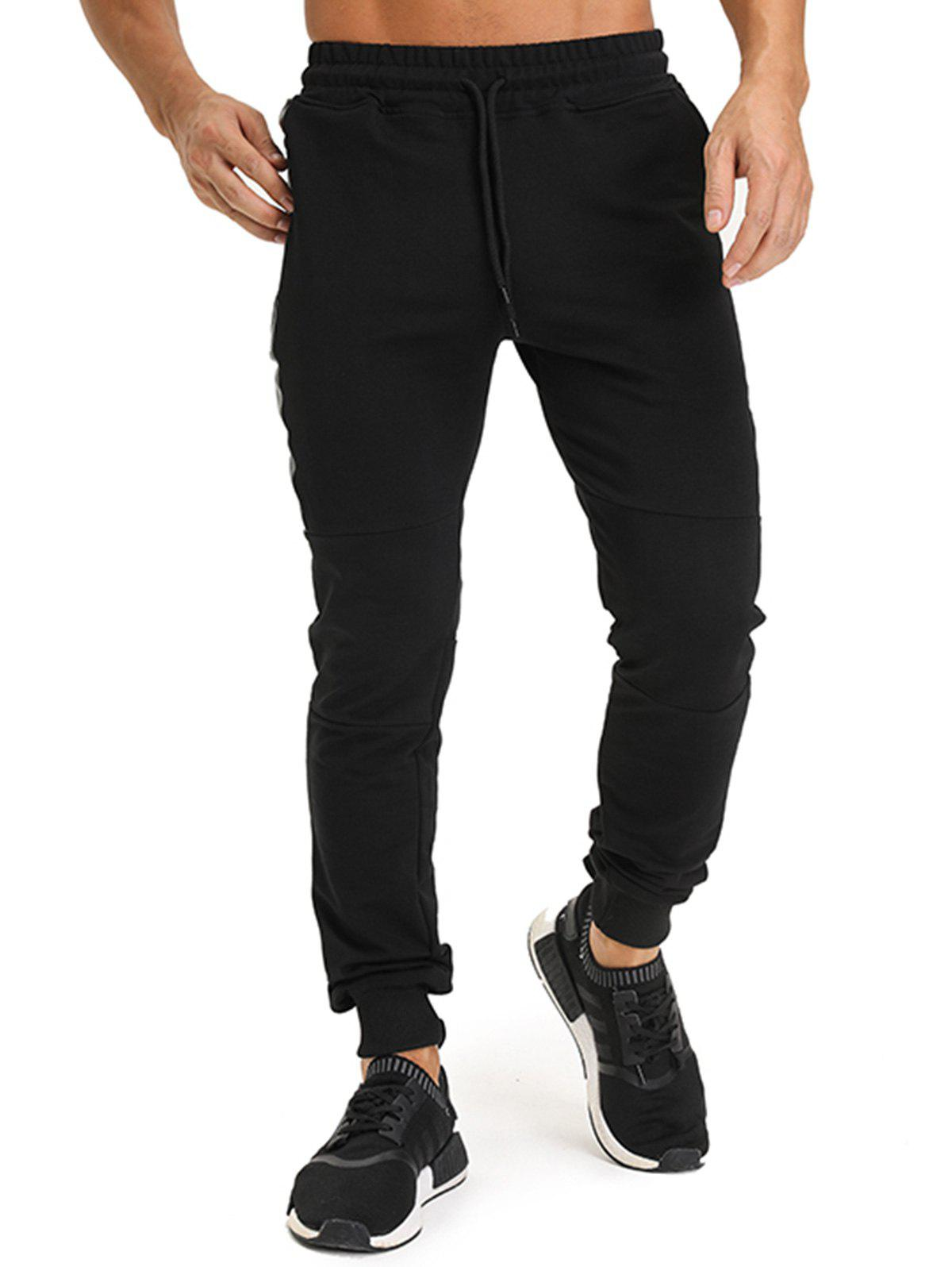 PU Leather Edging Zip Pockets Jogger PantsMEN<br><br>Size: 2XL; Color: BLACK; Type: Pants; Material: Cotton,Polyester; Pattern Type: Solid; Weight: 0.4200kg; Package Contents: 1 x Pants;