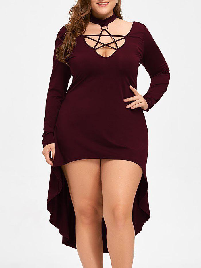 Halloween Plus Size Cutout Lace Up Hot Cocktail DressWOMEN<br><br>Size: 4XL; Color: DARK RED; Style: Club; Material: Polyester,Spandex; Silhouette: A-Line; Dresses Length: Mid-Calf; Neckline: Mock Neck; Sleeve Length: Long Sleeves; Pattern Type: Solid Color; With Belt: No; Season: Fall,Spring; Weight: 0.3700kg; Package Contents: 1 x Dress;