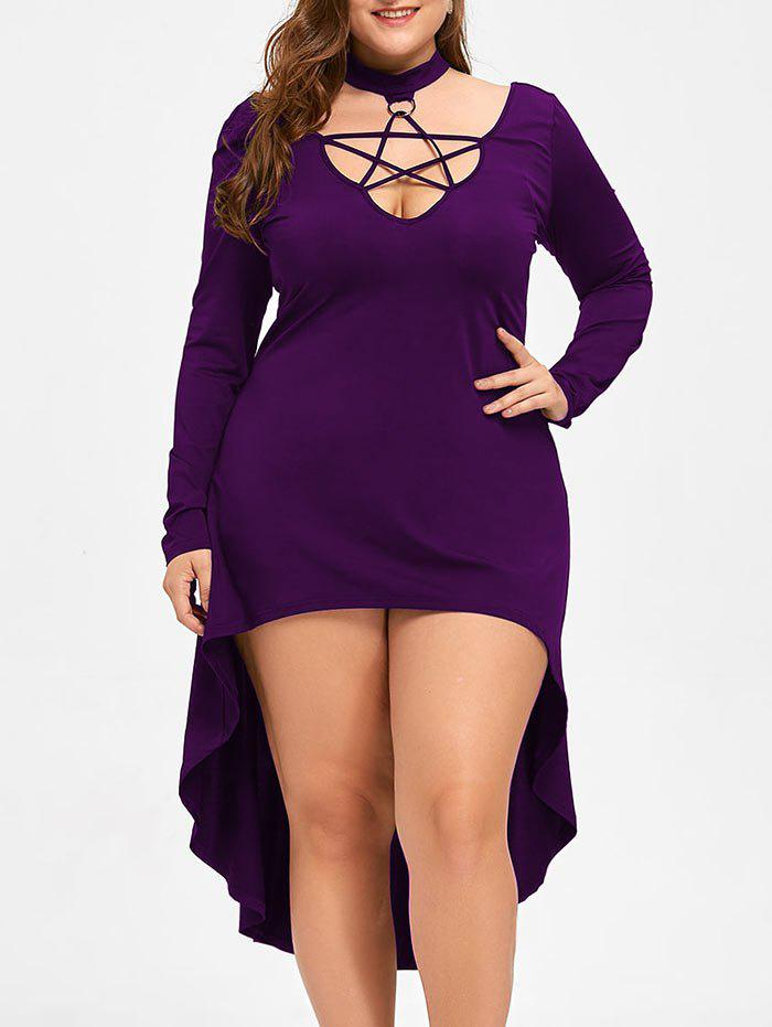 Halloween Plus Size Cutout Lace Up Hot Cocktail DressWOMEN<br><br>Size: 4XL; Color: PURPLE; Style: Club; Material: Polyester,Spandex; Silhouette: A-Line; Dresses Length: Mid-Calf; Neckline: Mock Neck; Sleeve Length: Long Sleeves; Pattern Type: Solid Color; With Belt: No; Season: Fall,Spring; Weight: 0.3700kg; Package Contents: 1 x Dress;