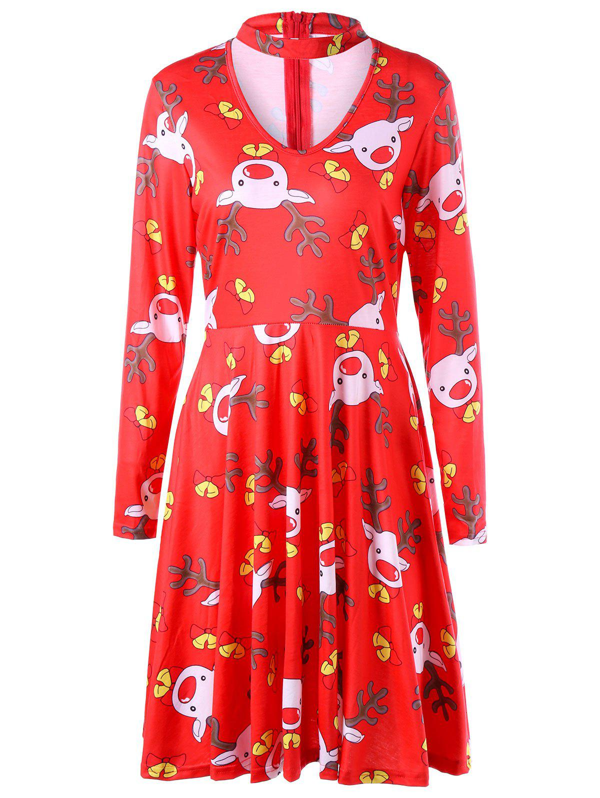 Fashion Ugly Christmas Cut Out Elk Dress
