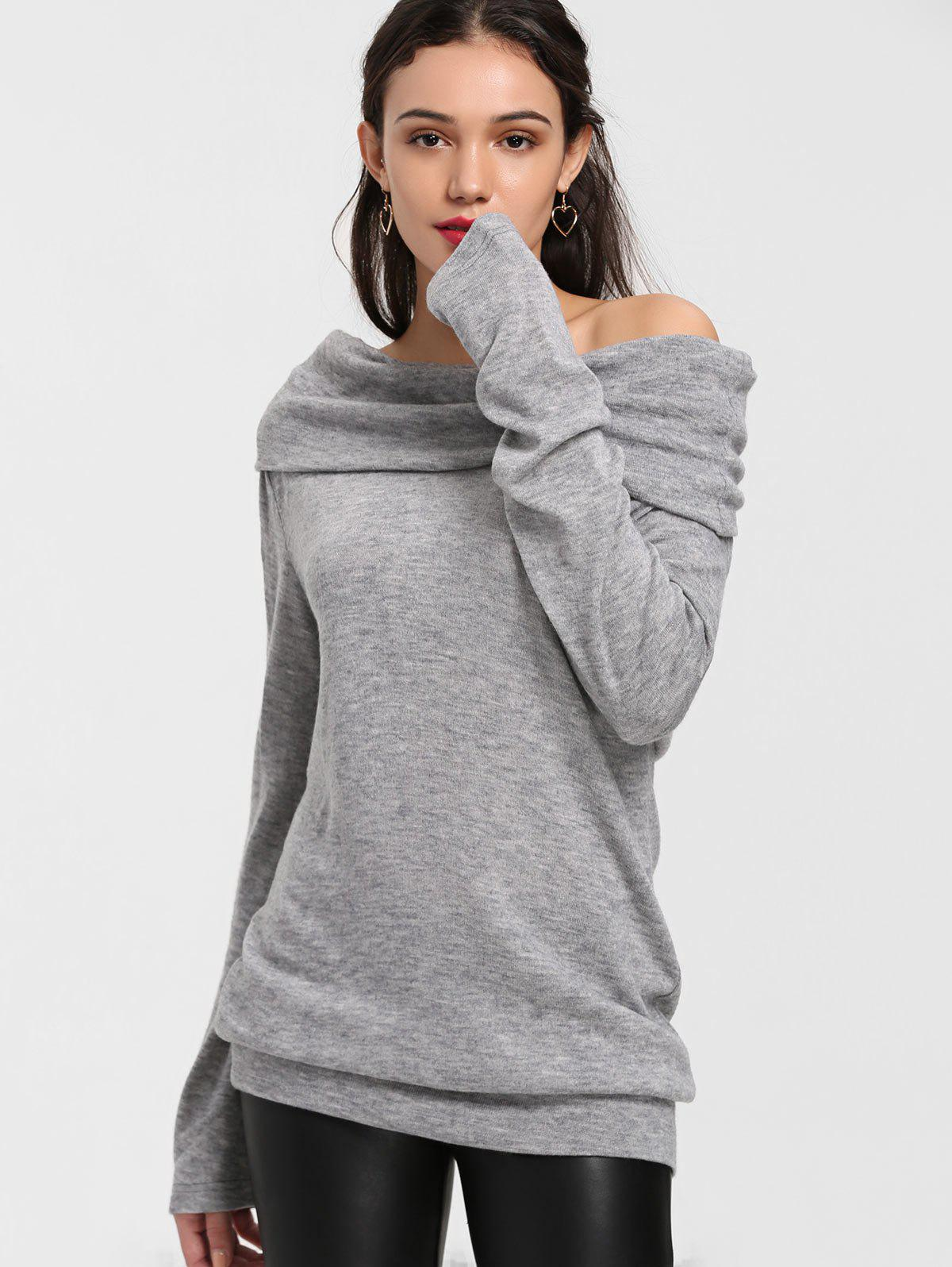 Off The Shoulder Longline KnitwearWOMEN<br><br>Size: M; Color: GRAY; Type: Pullovers; Material: Acrylic; Sleeve Length: Full; Collar: Off The Shoulder; Style: Fashion; Weight: 0.4200kg; Package Contents: 1 x Knitwear;