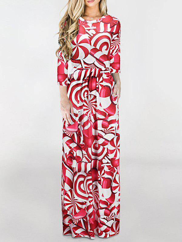 Unique Floor Length Christmas Printed Dress