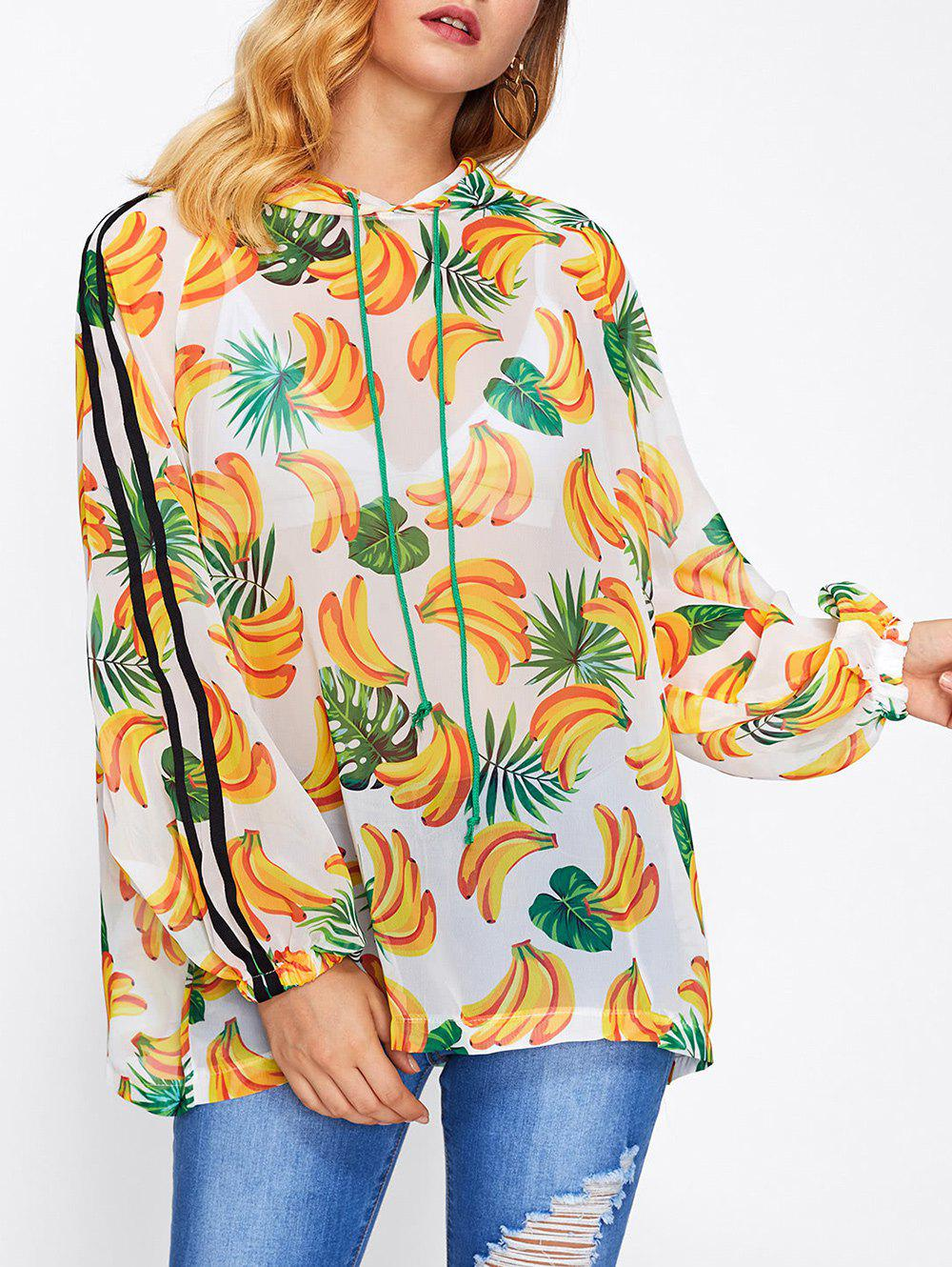Online Banana Print Hooded Cover-Up