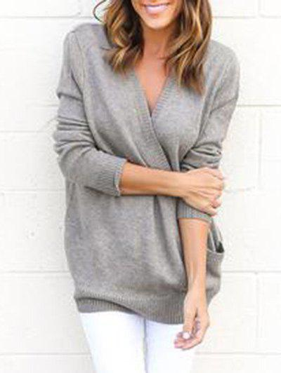 Surplice V Neck Tunic Sweater