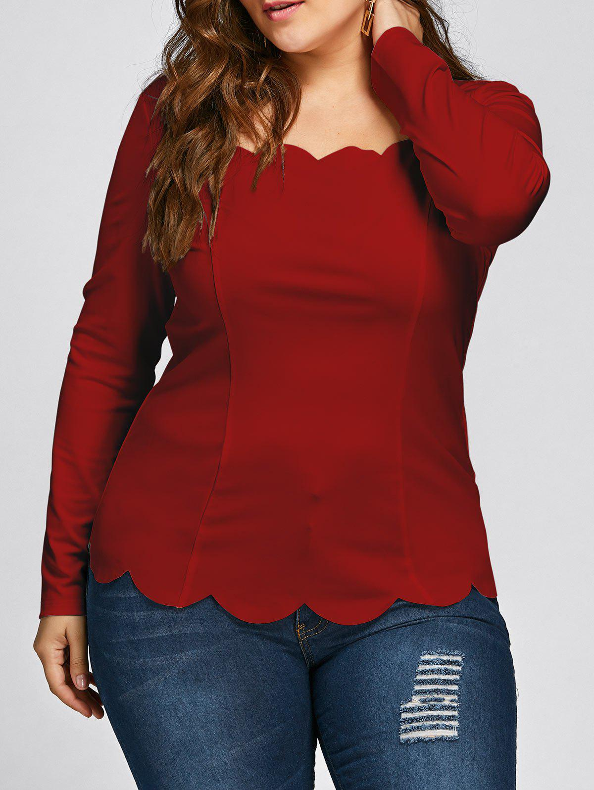 Plus Size Square Neck Scalloped Long Sleeve TopWOMEN<br><br>Size: 2XL; Color: RED; Material: Polyester,Spandex; Shirt Length: Regular; Sleeve Length: Full; Collar: Square Neck; Style: Fashion; Season: Fall,Spring; Pattern Type: Solid; Weight: 0.2530kg; Package Contents: 1 x Top;
