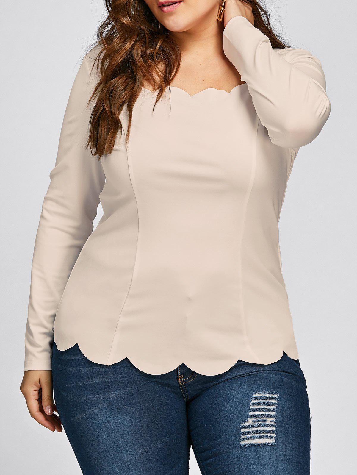 Plus Size Square Neck Scalloped Long Sleeve TopWOMEN<br><br>Size: 5XL; Color: LIGHT CAMEL; Material: Polyester,Spandex; Shirt Length: Regular; Sleeve Length: Full; Collar: Square Neck; Style: Fashion; Season: Fall,Spring; Pattern Type: Solid; Weight: 0.2530kg; Package Contents: 1 x Top;
