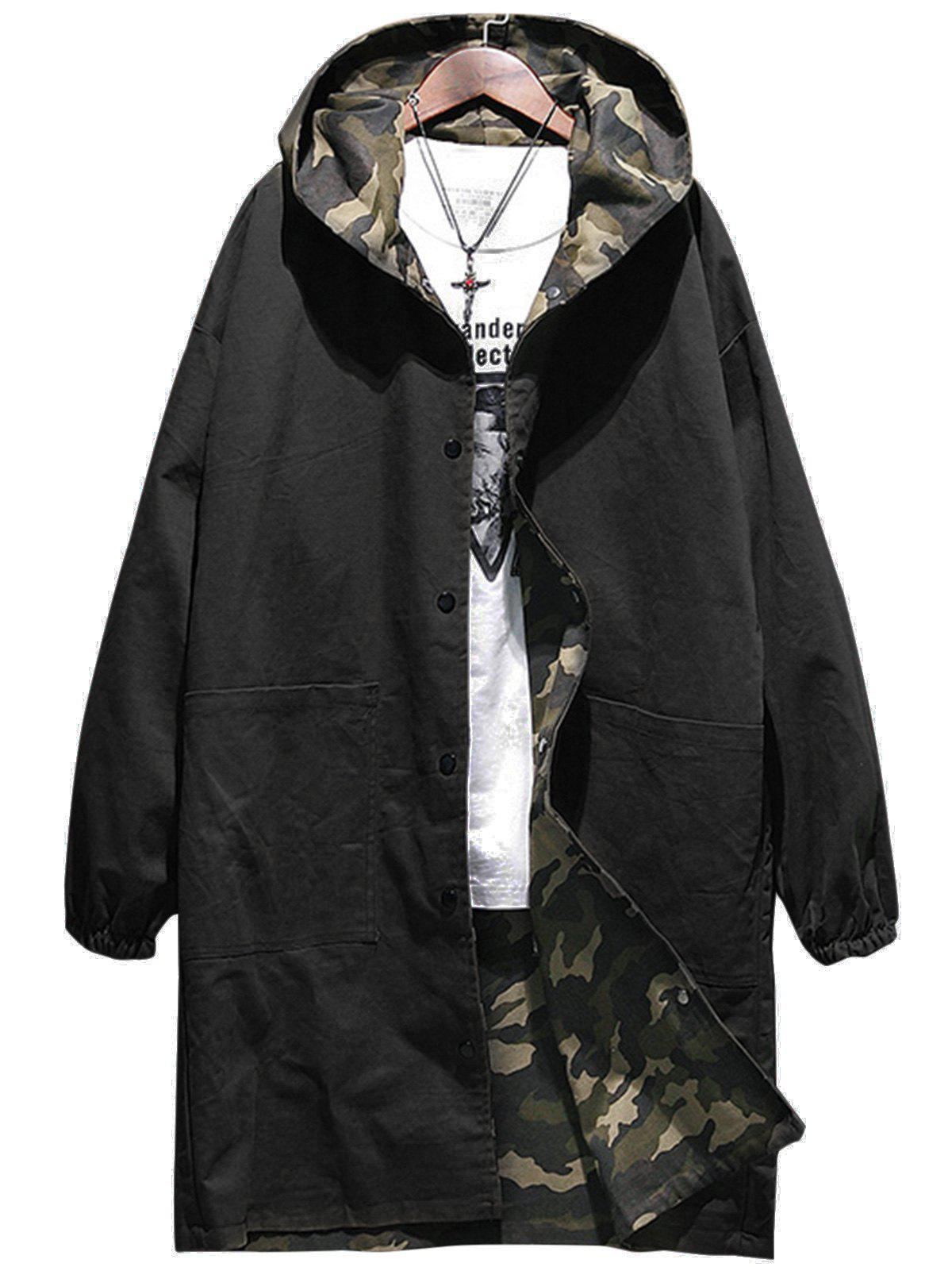 Shop Reversible Style Camouflage Hooded Pockets Coat