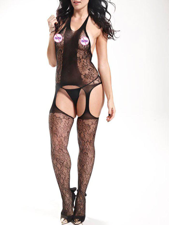 Cut Out Halter Fishnet Bodystockings