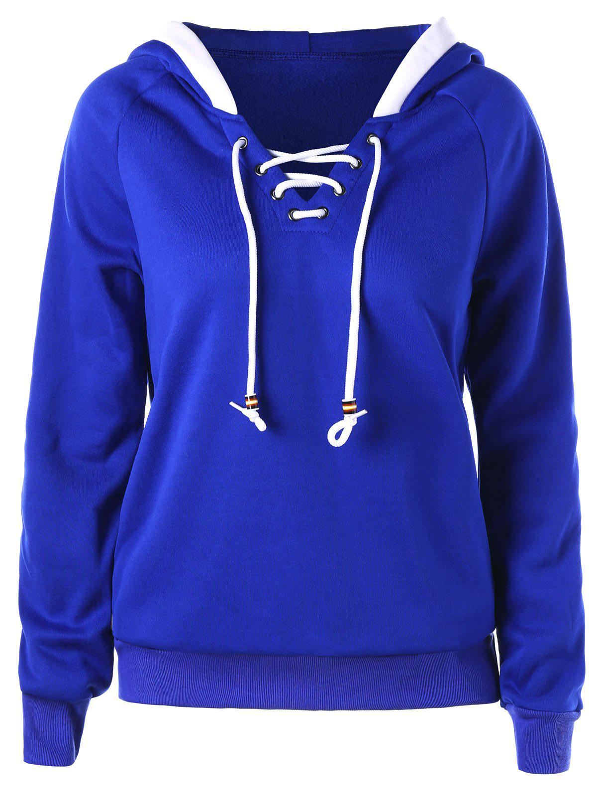 Raglan Sleeve Lace Up HoodieWOMEN<br><br>Size: M; Color: BLUE; Material: Polyester,Spandex; Shirt Length: Regular; Sleeve Length: Full; Style: Casual; Pattern Style: Solid; Season: Fall,Spring; Weight: 0.4100kg; Package Contents: 1 x Hoodie;