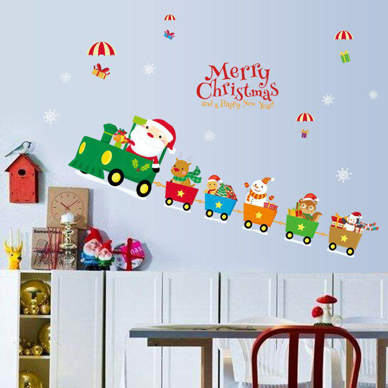 Christmas Santa Train Pattern Decorative Wall Art StickersHOME<br><br>Size: 45*60CM; Color: COLORMIX; Wall Sticker Type: Plane Wall Stickers; Functions: Decorative Wall Stickers; Theme: Christmas; Pattern Type: Letter,Santa Claus; Material: PVC; Feature: Removable; Weight: 0.0900kg; Package Contents: 1 x Wall Stickers;