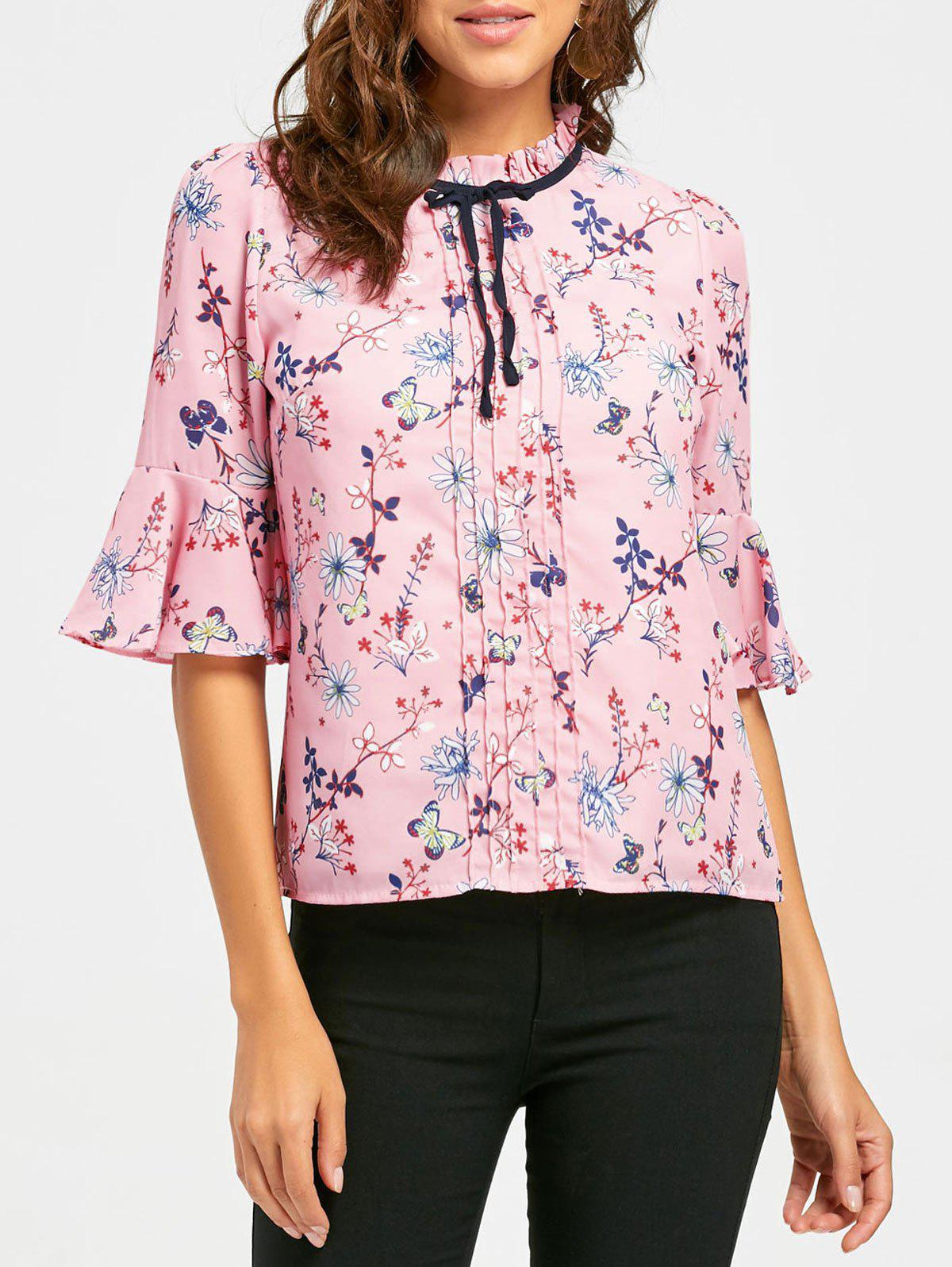 Hot Floral Ruffle Neck Self Tie Blouse
