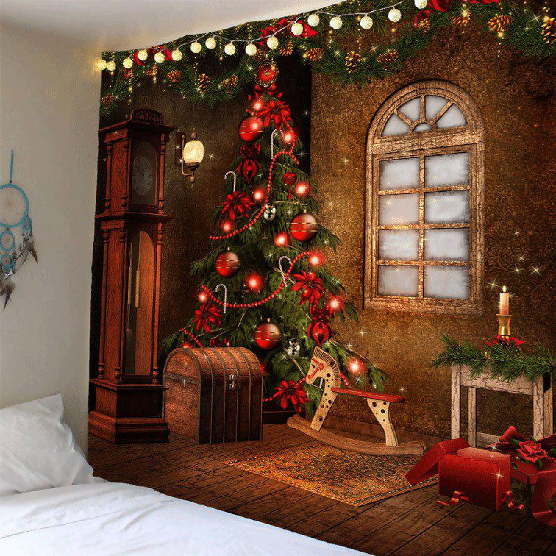 Christmas Tree Decorations Pattern Tapestry Wall ArtHOME<br><br>Size: W91 INCH * L71 INCH; Color: COLORFUL; Style: Festival; Theme: Christmas; Material: Polyester; Feature: Removable,Waterproof; Shape/Pattern: Tree; Weight: 0.4200kg; Package Contents: 1 x Tapestry;