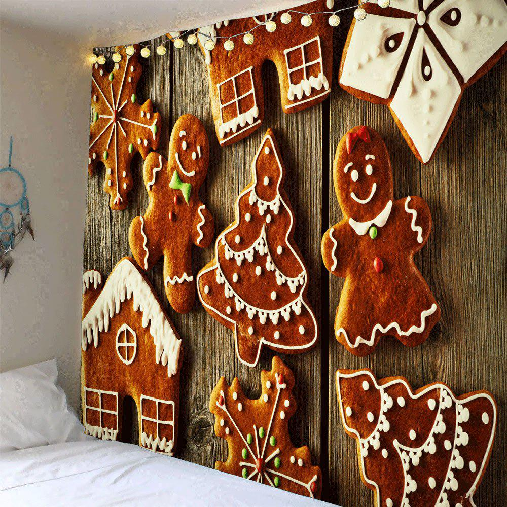 Waterproof Christmas Cookies Patterned Wall Decor TapestryHOME<br><br>Size: W91 INCH * L71 INCH; Color: COLORFUL; Style: Festival; Theme: Christmas; Material: Polyester; Feature: Removable,Waterproof; Shape/Pattern: Food,Wood; Weight: 0.4200kg; Package Contents: 1 x Tapestry;