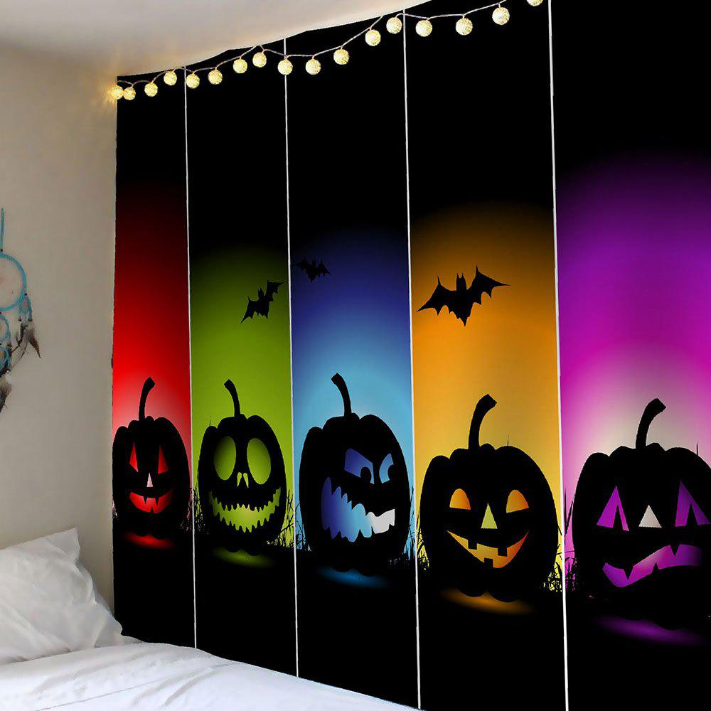 Waterproof Halloween Colorful Pumpkins Bats Wall TapestryHOME<br><br>Size: W91 INCH * L71 INCH; Color: COLORFUL; Style: Festival; Theme: Halloween; Material: Velvet; Feature: Removable,Waterproof; Shape/Pattern: Pumpkin; Weight: 0.4200kg; Package Contents: 1 x Tapestry;