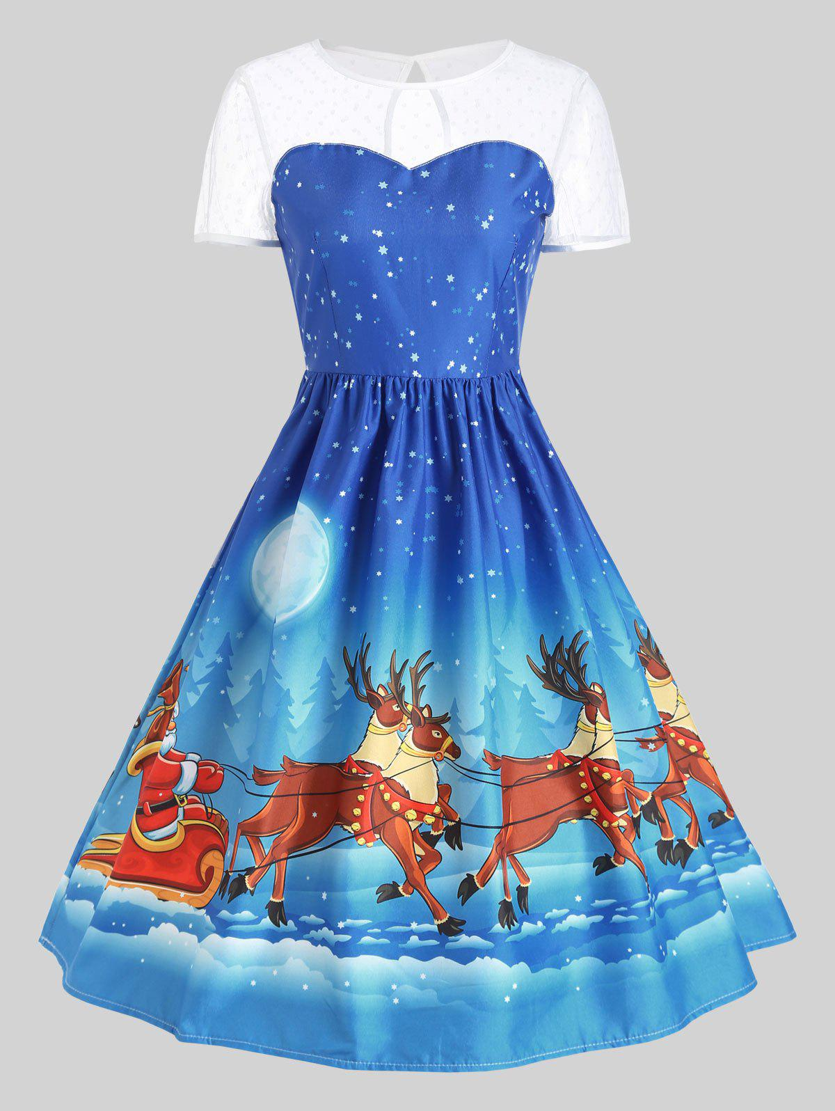 Mesh Panel Sleigh Santa Claus Christmas Party DressWOMEN<br><br>Size: M; Color: BLUE; Style: Cute; Material: Polyester; Silhouette: Ball Gown; Dresses Length: Mid-Calf; Neckline: Round Collar; Sleeve Length: Short Sleeves; Embellishment: Vintage; Pattern Type: Animal,Character,Print; With Belt: No; Season: Fall,Winter; Weight: 0.2400kg; Package Contents: 1 x Dress;