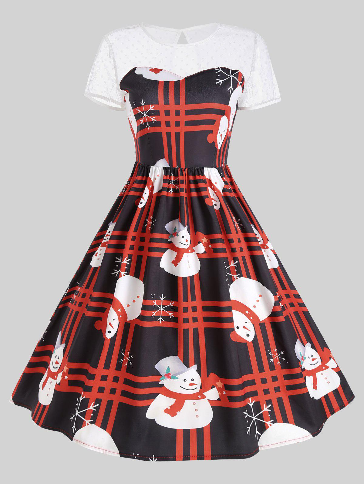 Mesh Panel Christmas Snowman Plaid Party DressWOMEN<br><br>Size: M; Color: RED; Style: Cute; Material: Cotton Blend,Polyester; Silhouette: Ball Gown; Dresses Length: Mid-Calf; Neckline: Round Collar; Sleeve Length: Short Sleeves; Embellishment: Hole,Hollow Out; Pattern Type: Print; With Belt: No; Season: Fall; Weight: 0.2400kg; Package Contents: 1 x Dress;