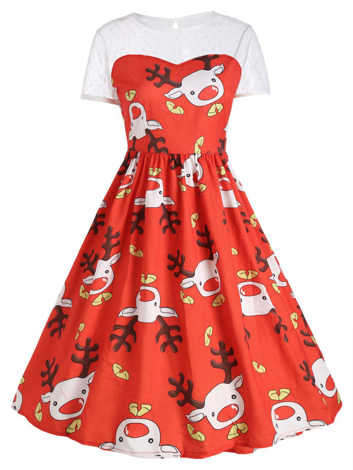 Mesh Insert Cute Reindeer Christmas Party DressWOMEN<br><br>Size: XL; Color: RED; Style: Vintage; Material: Polyester; Silhouette: Ball Gown; Dresses Length: Mid-Calf; Neckline: Round Collar; Sleeve Length: Short Sleeves; Embellishment: Hole; Pattern Type: Animal,Print; With Belt: No; Season: Fall,Winter; Weight: 0.2400kg; Package Contents: 1 x Dress;