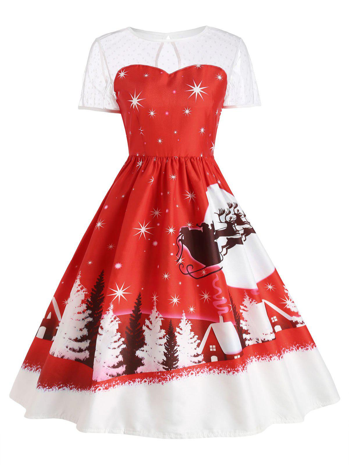 Santa Claus Deer Vintage Christmas DressWOMEN<br><br>Size: M; Color: RED; Style: Cute; Material: Polyester; Silhouette: Ball Gown; Dresses Length: Mid-Calf; Neckline: Round Collar; Sleeve Length: Short Sleeves; Pattern Type: Print; With Belt: No; Season: Fall,Winter; Weight: 0.2400kg; Package Contents: 1 x Dress;