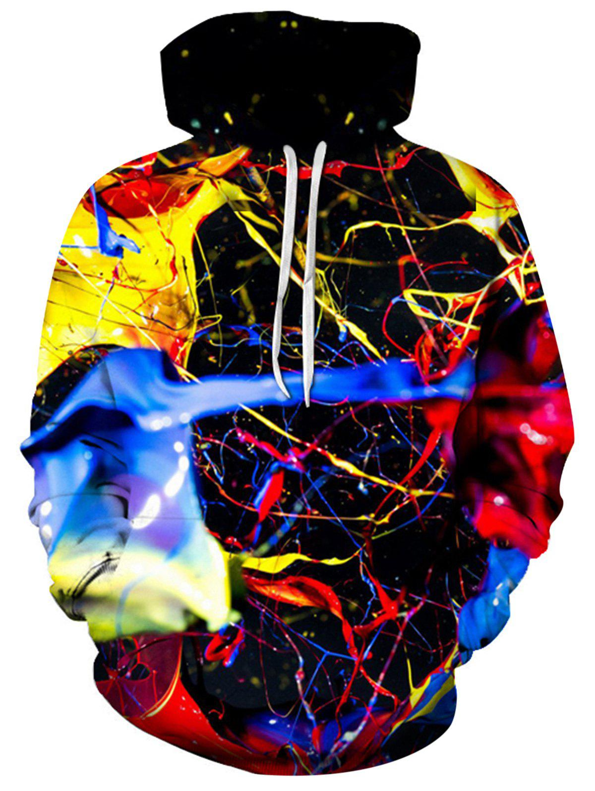Colorful Splatter Paint 3D Print Pullover HoodieMEN<br><br>Size: L; Color: COLORMIX; Material: Cotton,Polyester; Clothes Type: Hoodie; Shirt Length: Regular; Sleeve Length: Full; Style: Fashion; Patterns: 3D,Print; Thickness: Regular; Occasion: Casual ,Daily Use,Going Out; Weight: 0.4800kg; Package Contents: 1 x Hoodie;