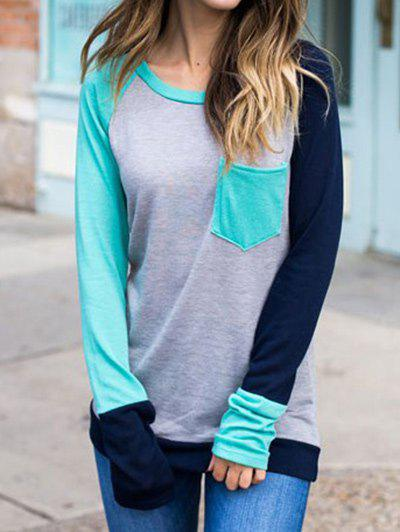 Latest Long Sleeve Color Block T-shirt with Pocket