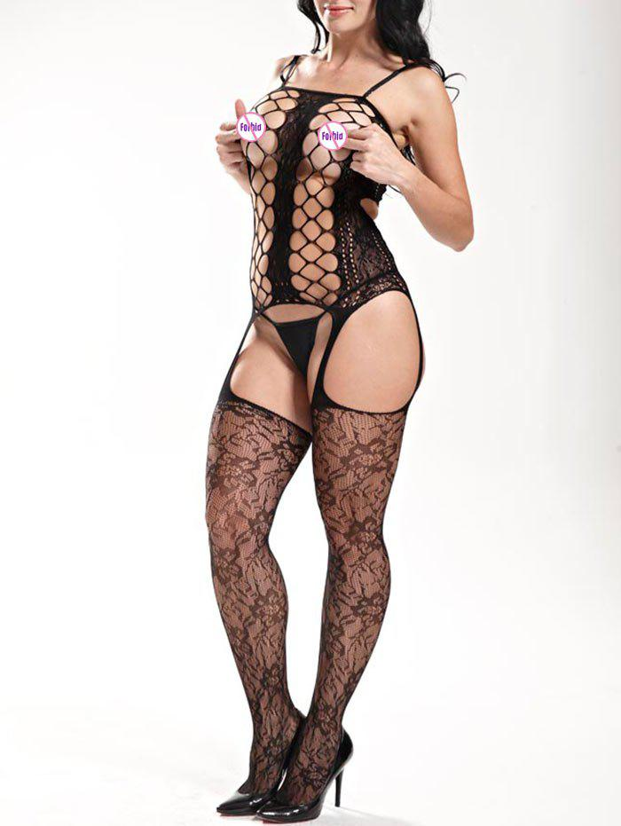 Fishnet Hollow Out Slip BodystockingsWOMEN<br><br>Size: ONE SIZE; Color: BLACK; Material: Polyester; Pattern Type: Solid; Embellishment: Hollow Out; Weight: 0.1500kg; Package Contents: 1 x Bodystockings;