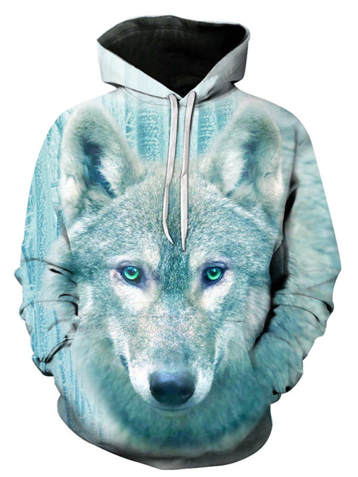 Wolf 3D Print Pullover HoodieMEN<br><br>Size: L; Color: COLORMIX; Material: Cotton,Polyester; Clothes Type: Hoodie; Shirt Length: Regular; Sleeve Length: Full; Style: Fashion; Patterns: 3D,Animal; Thickness: Regular; Occasion: Casual ,Daily Use,Going Out; Weight: 0.4800kg; Package Contents: 1 x Hoodie;