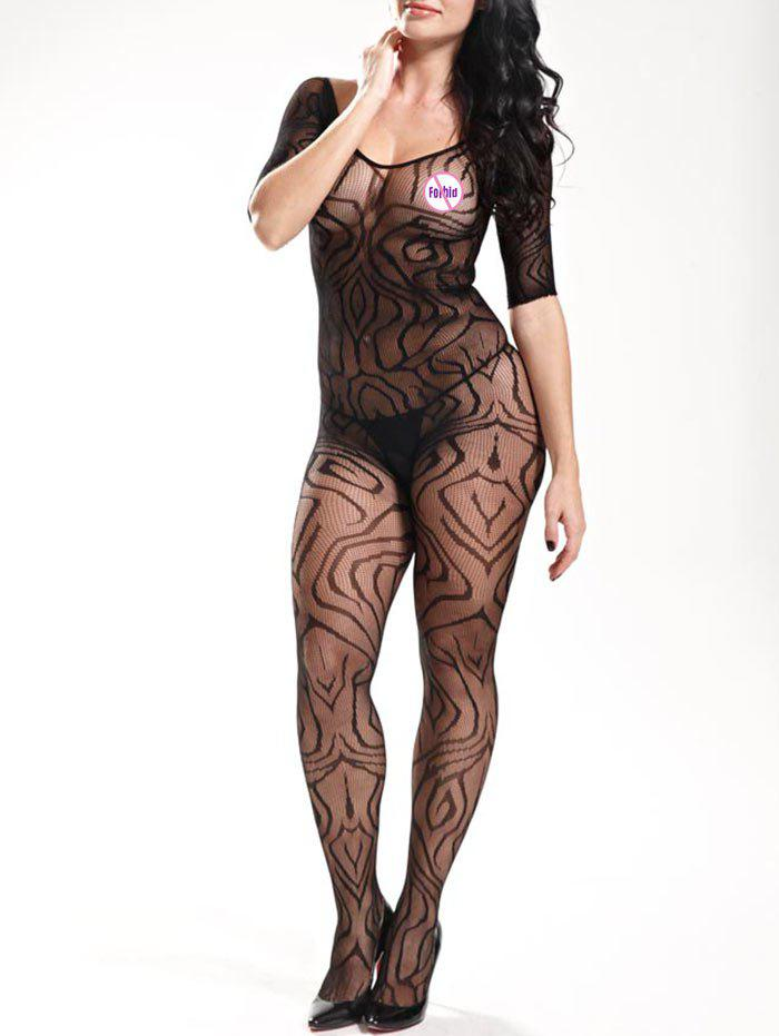 Fishnet See Thru BodystockingsWOMEN<br><br>Size: ONE SIZE; Color: BLACK; Material: Polyester; Pattern Type: Solid; Embellishment: Backless; Weight: 0.1500kg; Package Contents: 1 x Bodystockings;