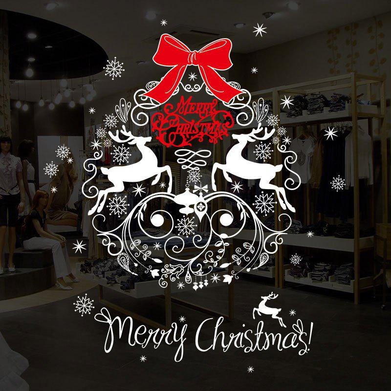 Christmas Wreath Pattern Decorative Wall Art StickersHOME<br><br>Size: 50*70CM; Color: COLORMIX; Wall Sticker Type: Plane Wall Stickers; Functions: Decorative Wall Stickers; Theme: Christmas; Pattern Type: Animal,Letter; Material: PVC; Feature: Removable; Weight: 0.1664kg; Package Contents: 1 x Wall Stickers;