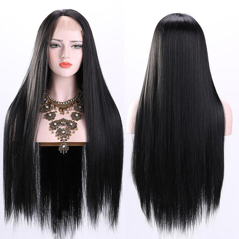 Ultra Long Free Part Straight Synthetic Lace Front WigHAIR<br><br>Color: BLACK; Type: Full Wigs; Cap Construction: Lace Front; Style: Straight; Cap Size: Average; Material: Synthetic Hair; Bang Type: Free Part; Length: Long; Lace Wigs Type: Lace Front Wigs; Occasion: Brithday Party,Ceremony,Chinese Spring Festival,Daily,Gift,Graduation Ceremony,Party,Wedding; Length Size(CM): 80; Weight: 0.3050kg; Package Contents: 1 x Wig;