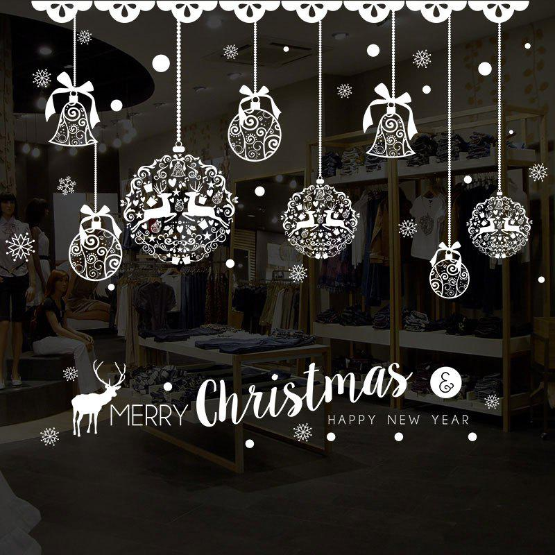 Christmas Baubles Pattern Decorative Wall Art StickersHOME<br><br>Size: 50*70CM; Color: WHITE; Wall Sticker Type: Plane Wall Stickers; Functions: Decorative Wall Stickers; Theme: Christmas; Pattern Type: Ball,Letter; Material: PVC; Feature: Removable; Weight: 0.1274kg; Package Contents: 1 x Wall Stickers;