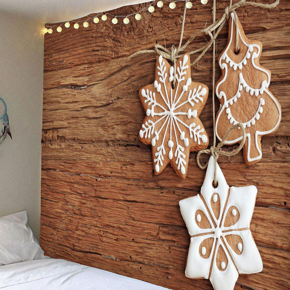 Waterproof Christmas Snowflake Printed Wall TapestryHOME<br><br>Size: W91 INCH * L71 INCH; Color: WOOD; Style: Festival; Theme: Christmas; Material: Velvet; Feature: Removable,Waterproof; Shape/Pattern: Print; Weight: 0.4200kg; Package Contents: 1 x Tapestry;