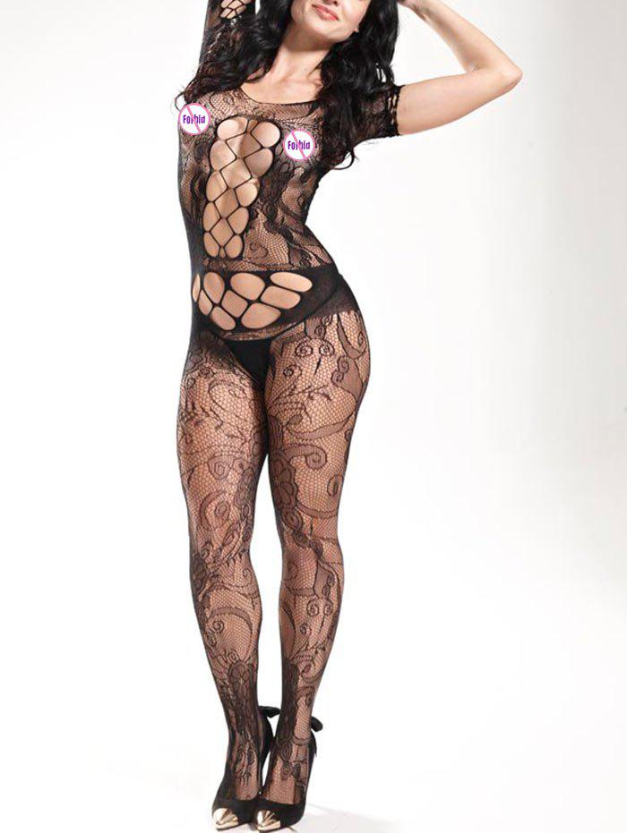 Fishnet Short Sleeve Sheer BodystockingsWOMEN<br><br>Size: ONE SIZE; Color: BLACK; Material: Polyester; Pattern Type: Solid; Embellishment: Hollow Out; Weight: 0.1700kg; Package Contents: 1 x Bodystockings;