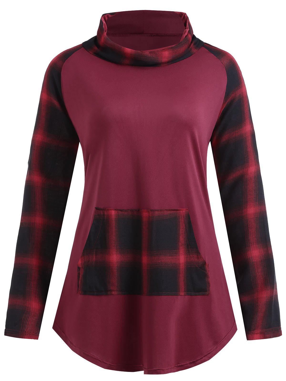 Plus Size Turtleneck Plaid Panel TeeWOMEN<br><br>Size: 2XL; Color: WINE RED; Material: Cotton,Polyester; Shirt Length: Regular; Sleeve Length: Full; Collar: Turtleneck; Style: Fashion; Season: Fall; Sleeve Type: Raglan Sleeve; Embellishment: Front Pocket,Panel; Pattern Type: Plaid; Weight: 0.2700kg; Package Contents: 1 x T-shirt;
