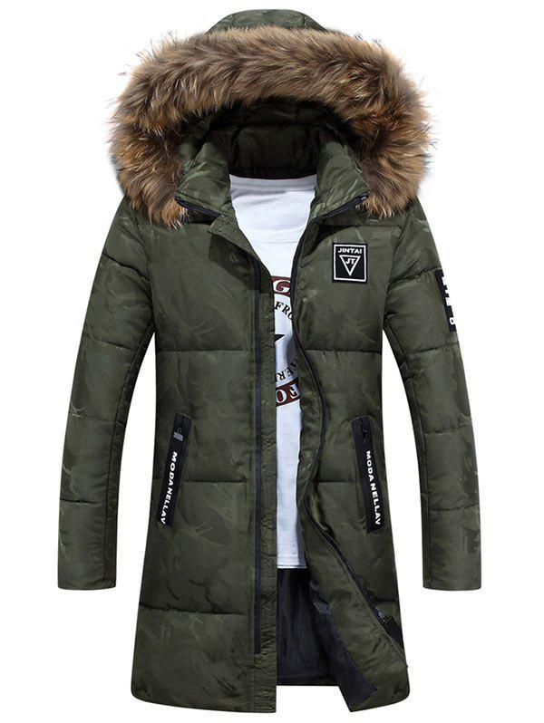 Online Patch Design Zip Up Hooded Quilted Coat