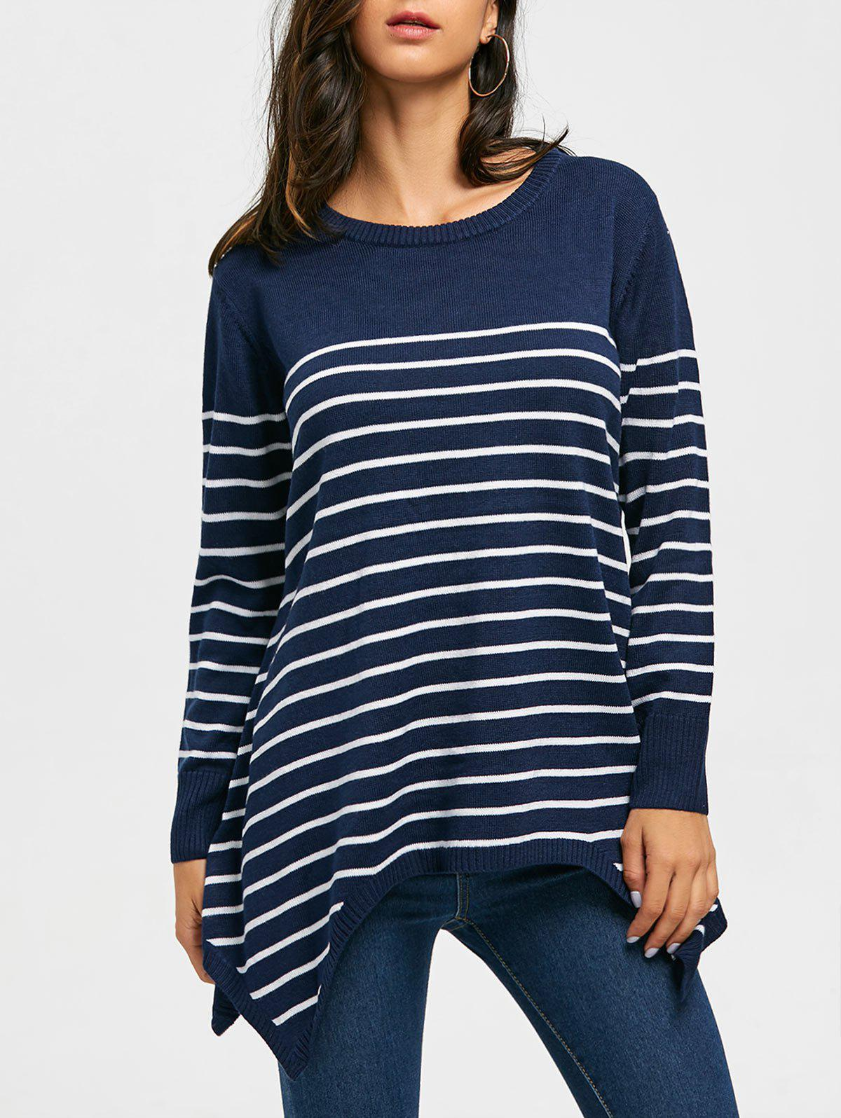 Discount Loose Fitting Striped Asymmetrical Knitwear