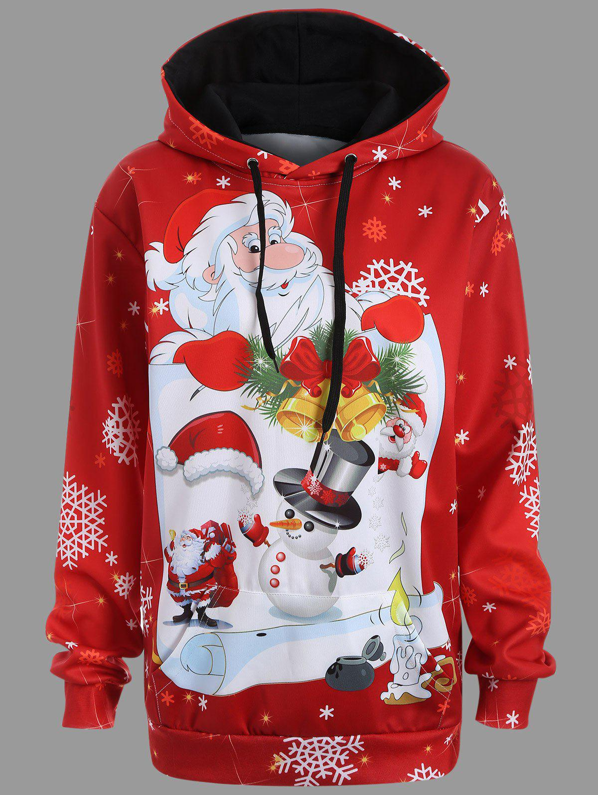 Christmas Santa Claus Kangaroo Pocket Tunic HoodieWOMEN<br><br>Size: XL; Color: RED; Material: Polyester,Spandex; Shirt Length: Long; Sleeve Length: Full; Style: Casual; Pattern Style: Character; Season: Fall,Spring; Weight: 0.4000kg; Package Contents: 1 x Hoodie;