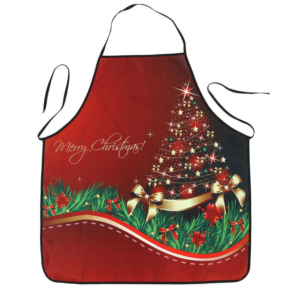 Christmas Star Tree Print Waterproof Kitchen ApronHOME<br><br>Size: 80*70CM; Color: RED; Type: Apron; Material: Polyester; Pattern Type: Star; Weight: 0.0800kg; Package Contents: 1 x Apron;
