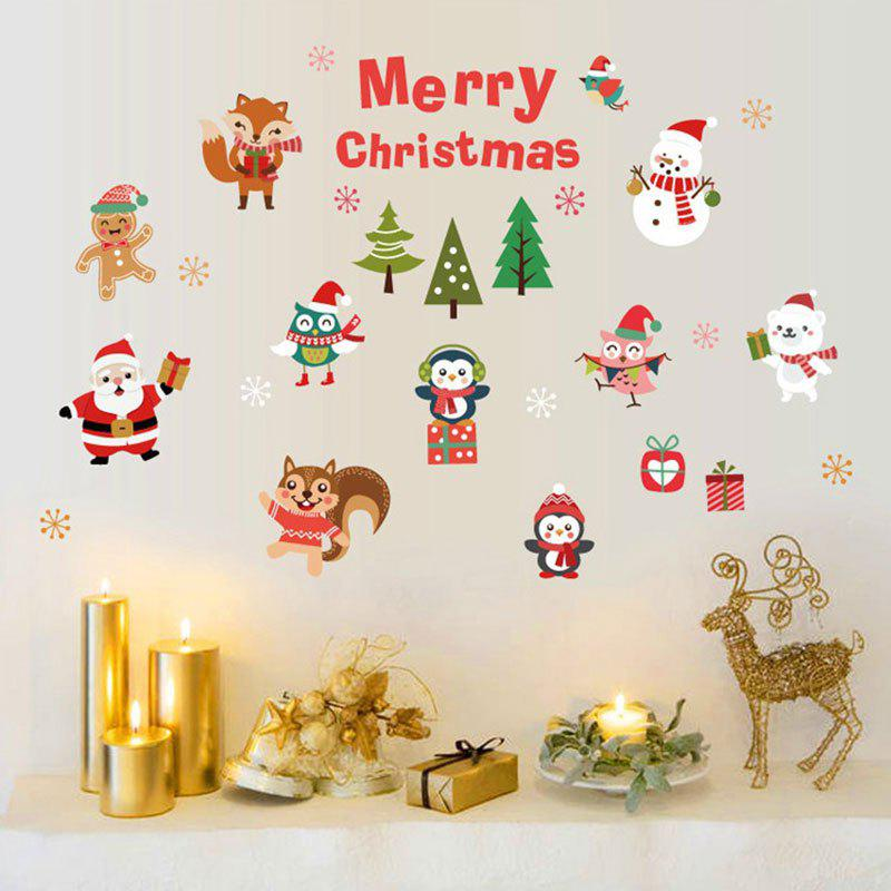 Christmas Santa Animals Pattern Decorative Wall Art StickersHOME<br><br>Size: 45*60CM; Color: COLORMIX; Wall Sticker Type: Plane Wall Stickers; Functions: Decorative Wall Stickers; Theme: Christmas; Pattern Type: Animal,Cartoon,Santa Claus; Material: PVC; Feature: Removable; Weight: 0.0900kg; Package Contents: 1 x Wall Stickers;