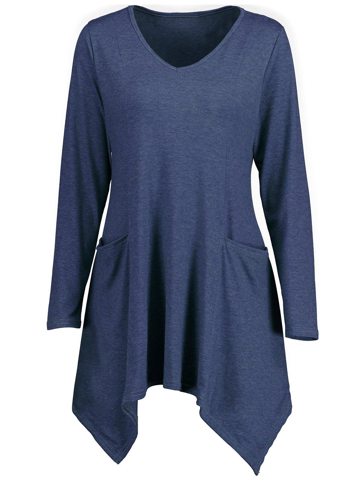 Handkerchief Longline V Neck T-shirtWOMEN<br><br>Size: XL; Color: BLUE; Material: Polyester; Shirt Length: Long; Sleeve Length: Full; Collar: V-Neck; Style: Casual; Pattern Type: Solid Color; Season: Fall,Spring; Weight: 0.3900kg; Package Contents: 1 x T-shirt;
