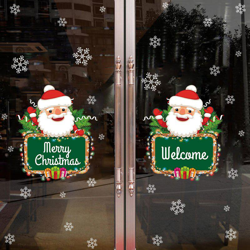Christmas Santa Snowflake Pattern Decorative Wall Art StickersHOME<br><br>Size: 50*70CM; Color: COLORMIX; Wall Sticker Type: Plane Wall Stickers; Functions: Decorative Wall Stickers; Theme: Christmas; Pattern Type: Santa Claus; Material: PVC; Feature: Removable; Weight: 0.2106kg; Package Contents: 1 x Wall Stickers;