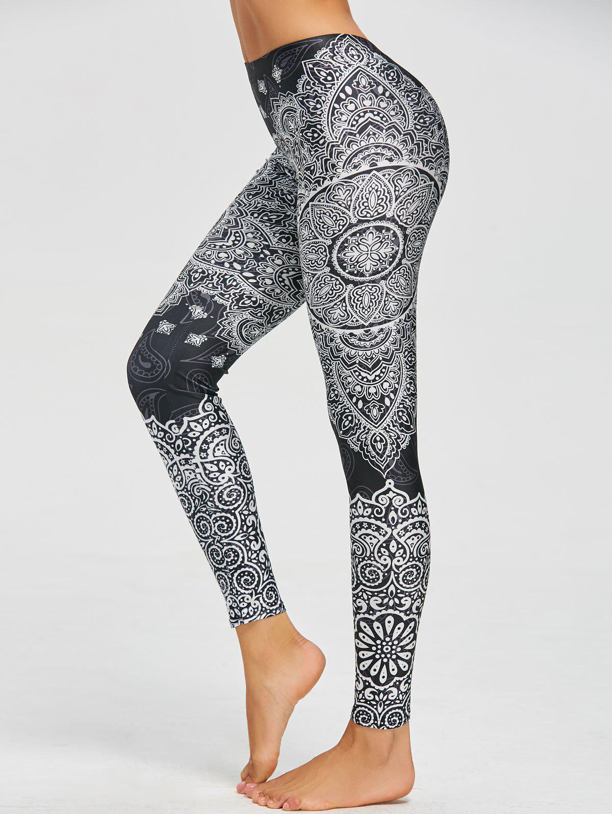 Paisley Bohemian Print LeggingsWOMEN<br><br>Size: M; Color: BLACK; Style: Fashion; Material: Polyester,Spandex; Waist Type: High; Pattern Type: Others; Weight: 0.2300kg; Package Contents: 1 x Leggings;