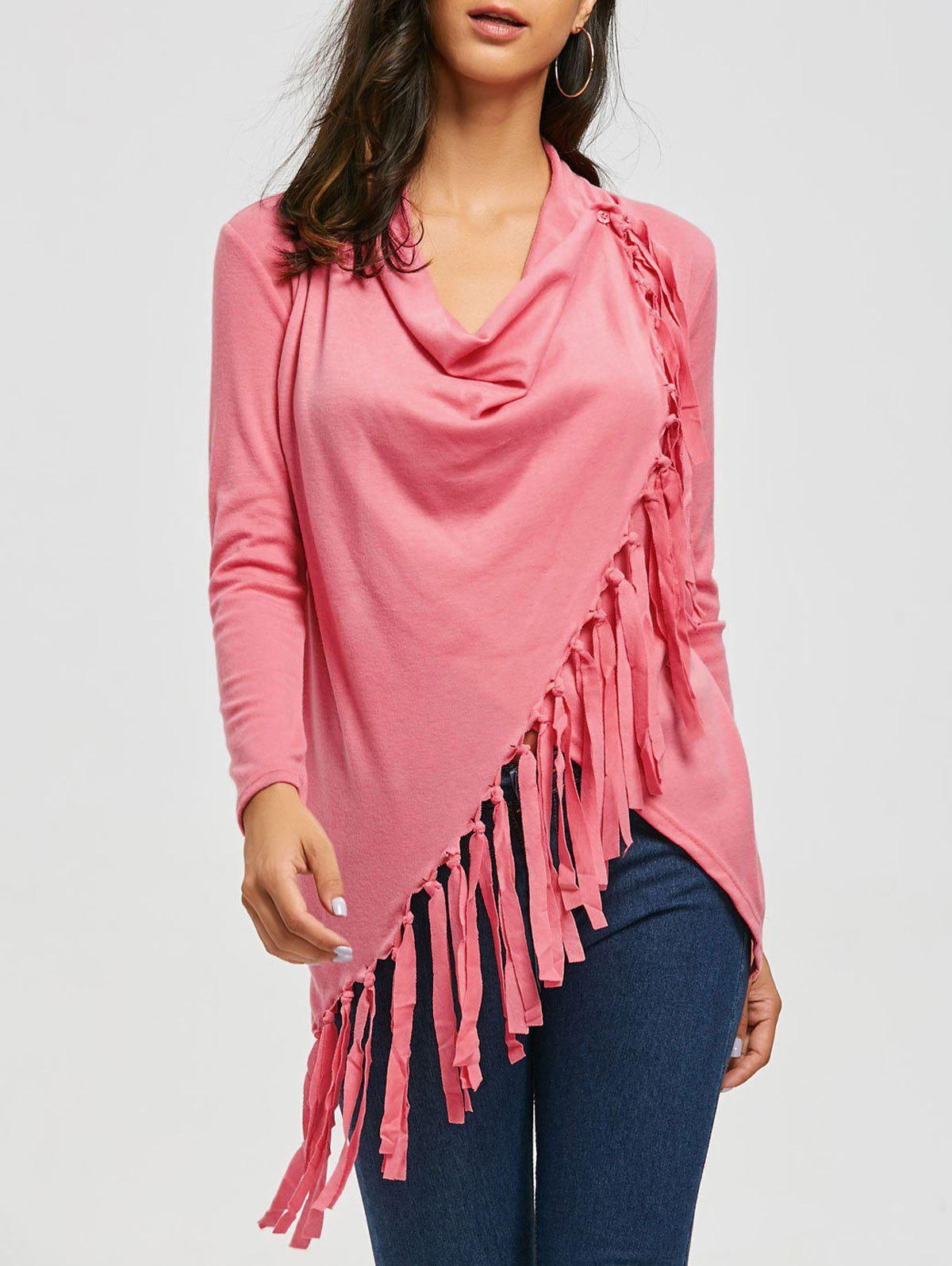 Tassel Asymmetric Long Sleeve TopWOMEN<br><br>Size: S; Color: PINK; Material: Polyester; Sleeve Length: Full; Collar: Cowl Neck; Style: Fashion; Embellishment: Tassel; Pattern Type: Solid; Weight: 0.3300kg; Package Contents: 1 x T-Shirt;