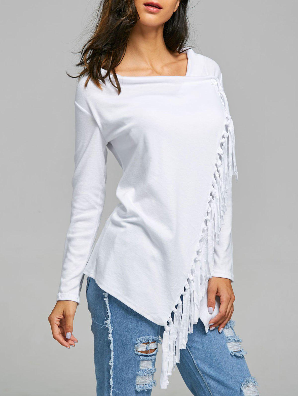 Tassel Asymmetric Long Sleeve TopWOMEN<br><br>Size: XL; Color: WHITE; Material: Polyester; Sleeve Length: Full; Collar: Cowl Neck; Style: Fashion; Embellishment: Tassel; Pattern Type: Solid; Weight: 0.3300kg; Package Contents: 1 x T-Shirt;