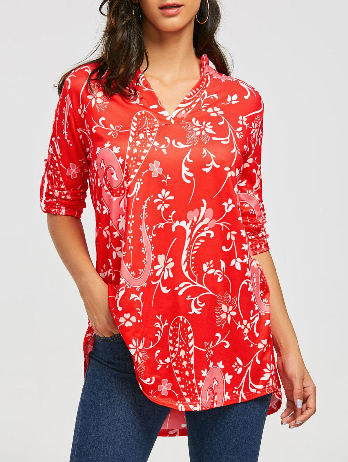 Bohemian Print V-neck BlouseWOMEN<br><br>Size: XL; Color: RED; Style: Bohemian; Material: Polyester,Spandex; Shirt Length: Long; Sleeve Length: Three Quarter; Collar: V-Neck; Pattern Type: Print; Season: Fall,Spring; Weight: 0.2700kg; Package Contents: 1 x Blouse;